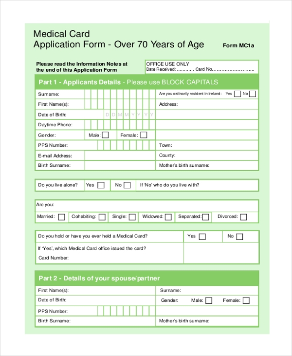 medical card form