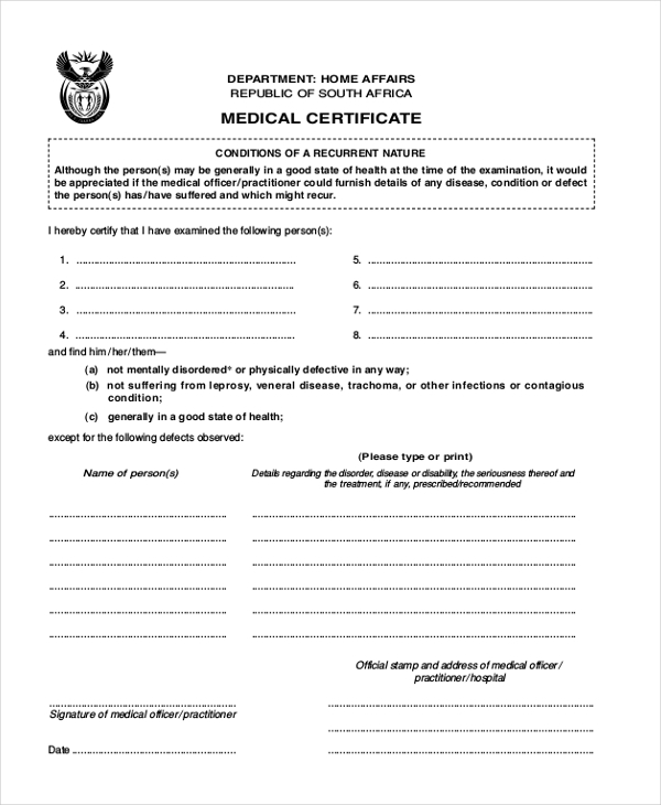 Sample Medical Form 20 Free Documents in PDF – Medical Certificate Form