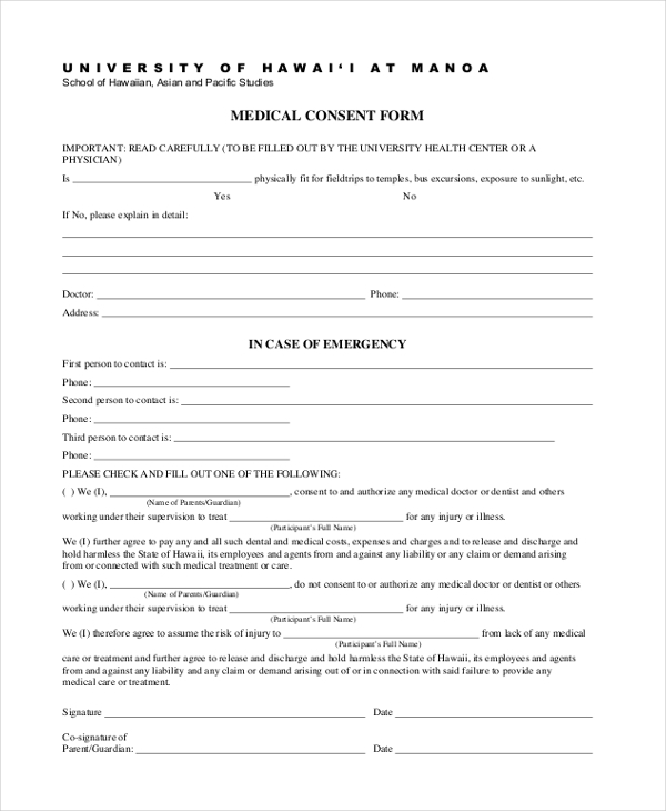 medical consent form