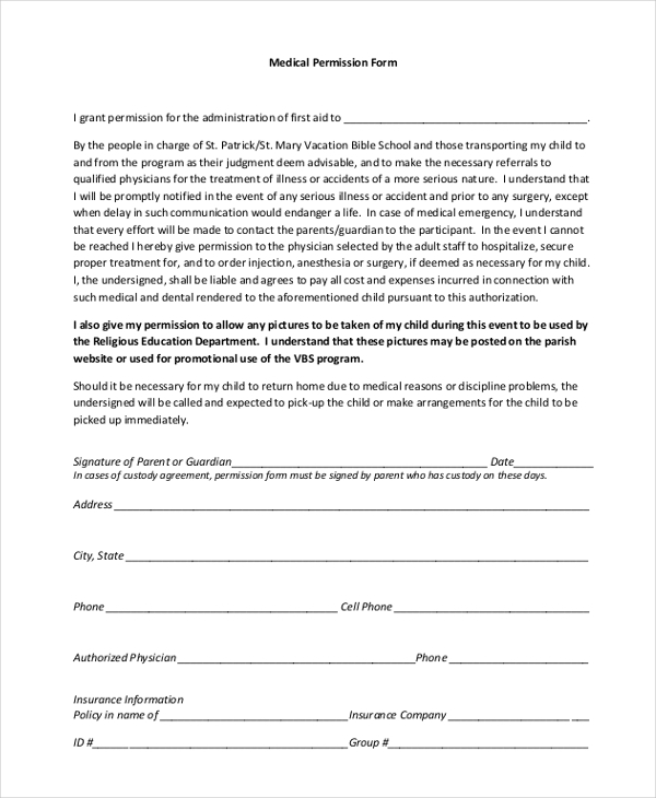 medical permission form