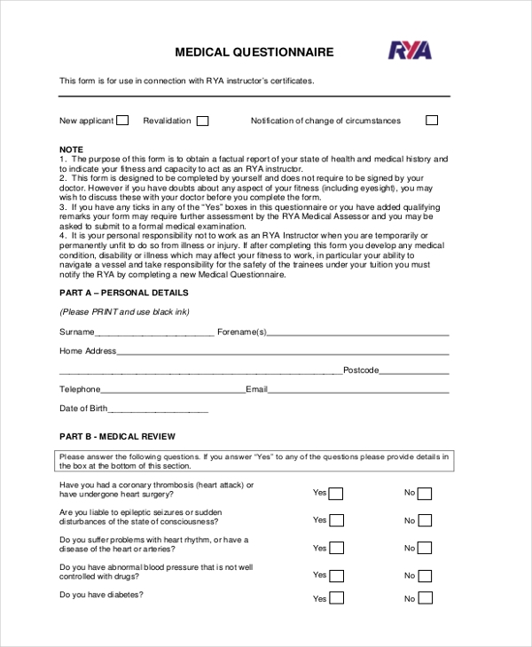 Sample questionnaire forms 24 free documents in pdf for Health questionnaire form template