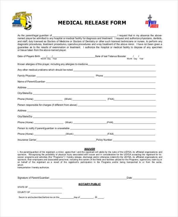 Sample Release Forms 22 Free Documents in Word PDF – Physician Release Form