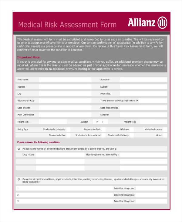 Medical Risk Assessment Form