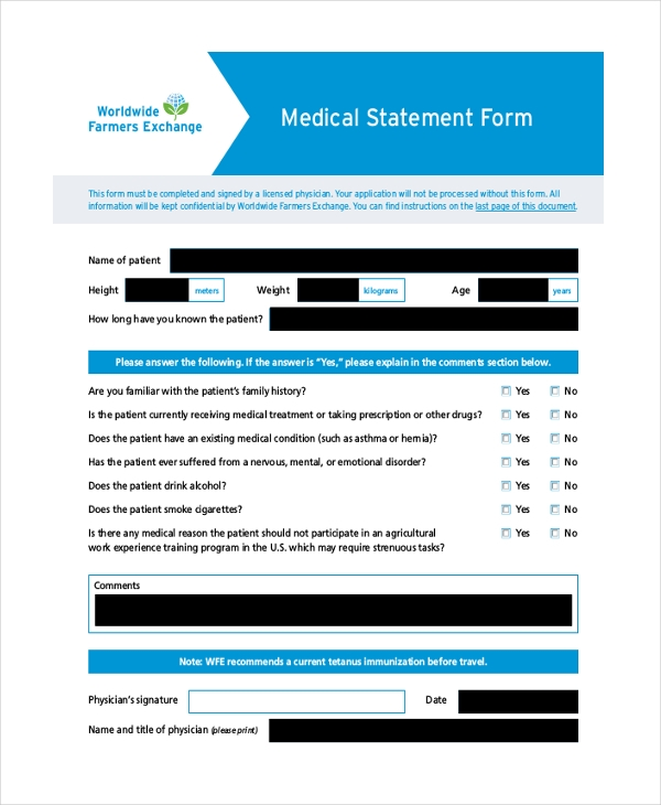 medical statement form