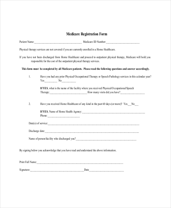 medicare registration form