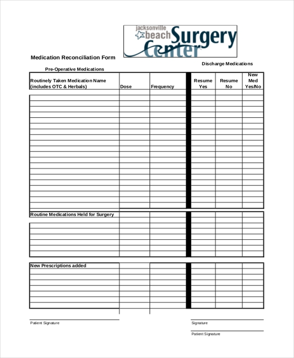 medication reconciliation form