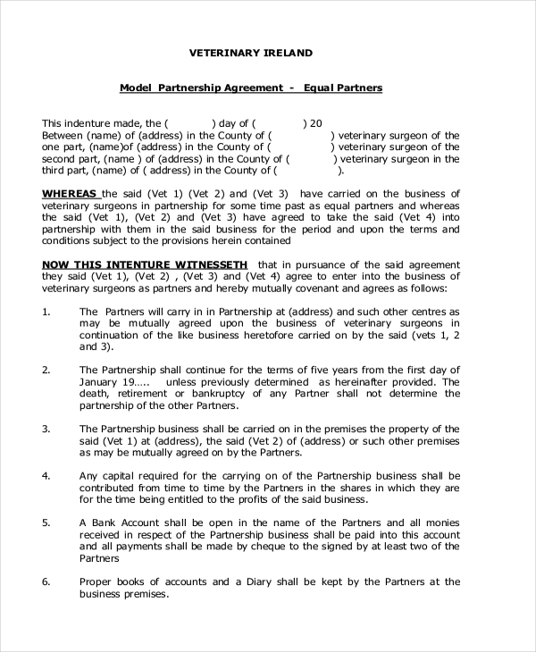Sample partnership agreement form 12 free documents in pdf model partnership agreement accmission Image collections