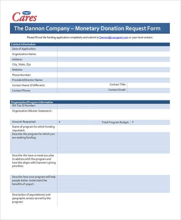 monetary donation request form
