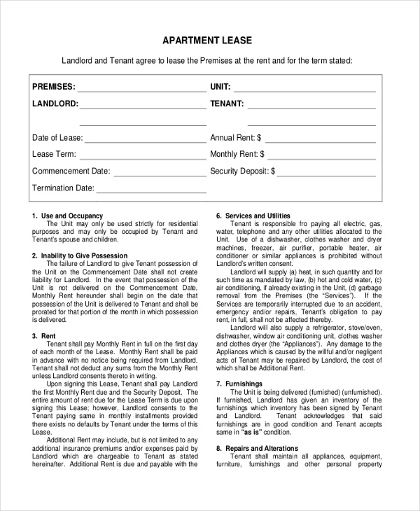 7+ Sample Month To Month Lease Form - 7+ Free Documents In Pdf