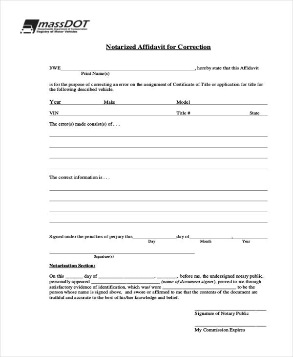 Sample General Affidavit Form 10 Free Documents in PDF – Sample Notary Statements