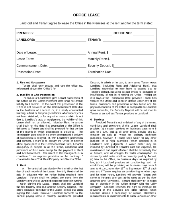 office lease form