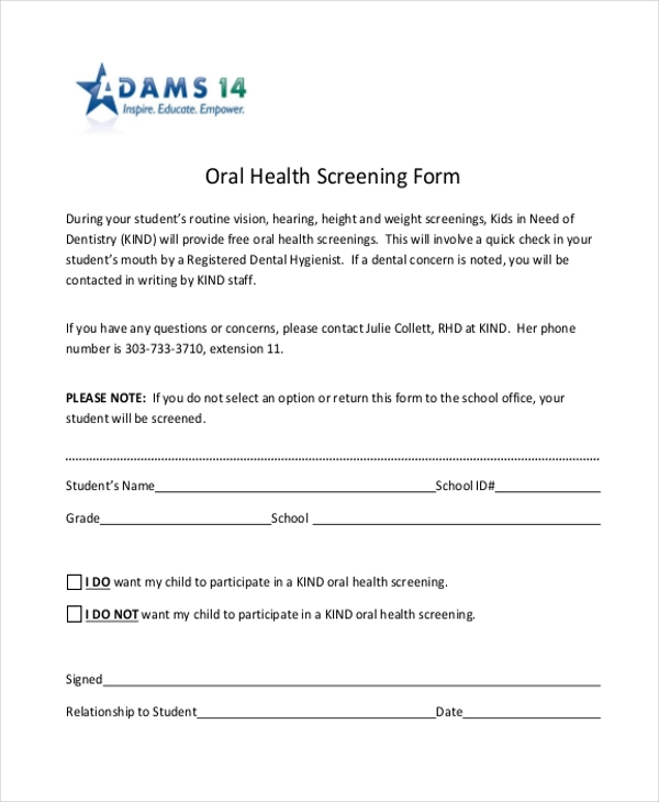 oral health screening form