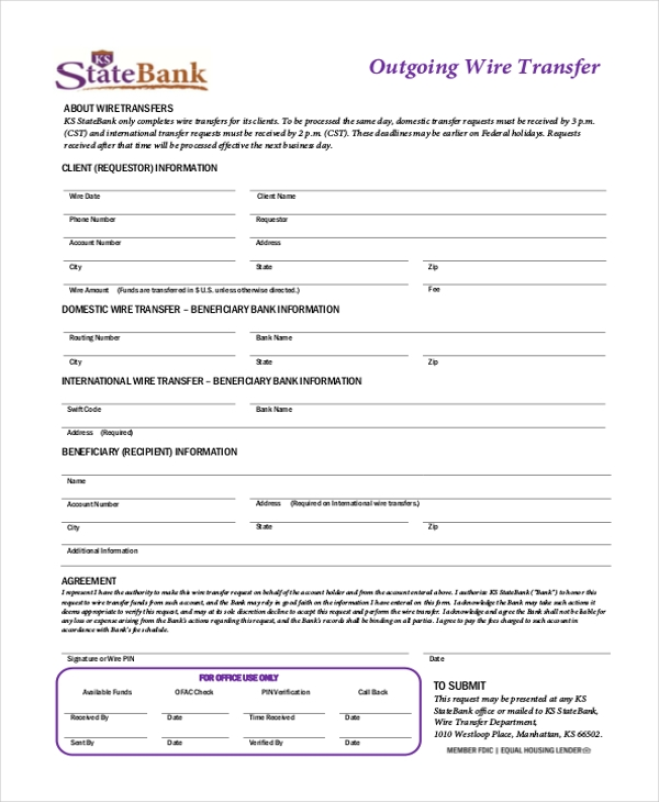 Bank Of America International Wire | Outgoing Wire Transfer Form