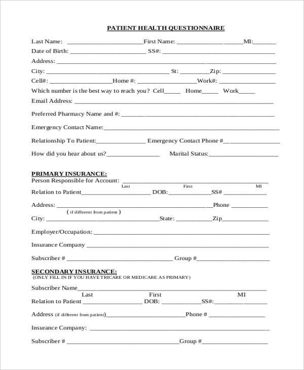 Sample Health Questionnaire Form - 10+ Free Documents In Word, Pdf