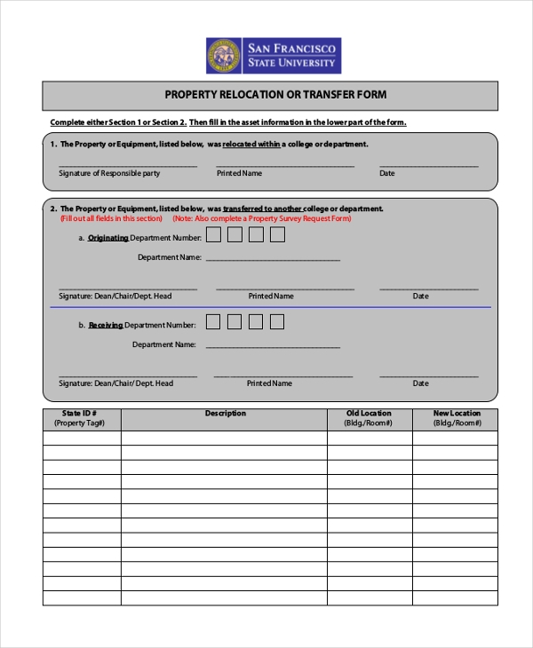 property relocation form