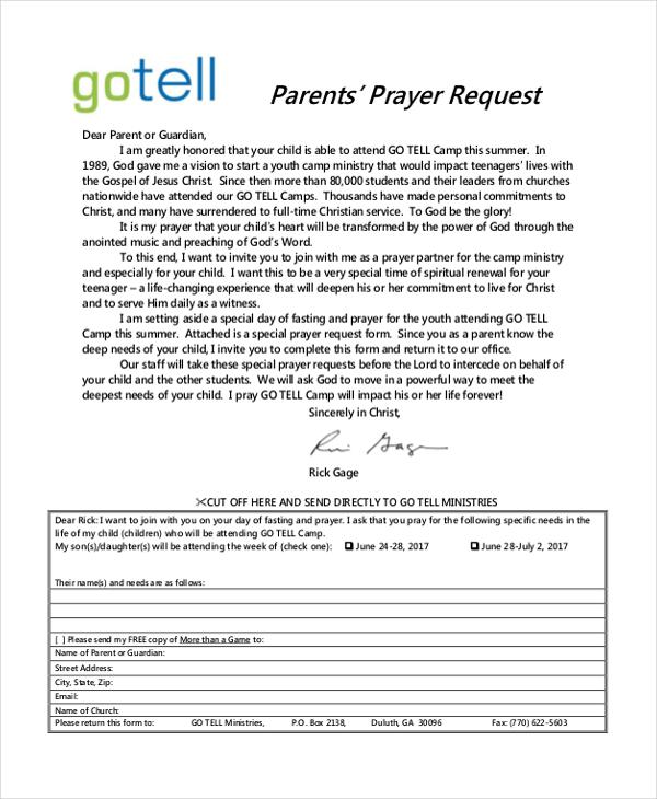 parents' prayer request