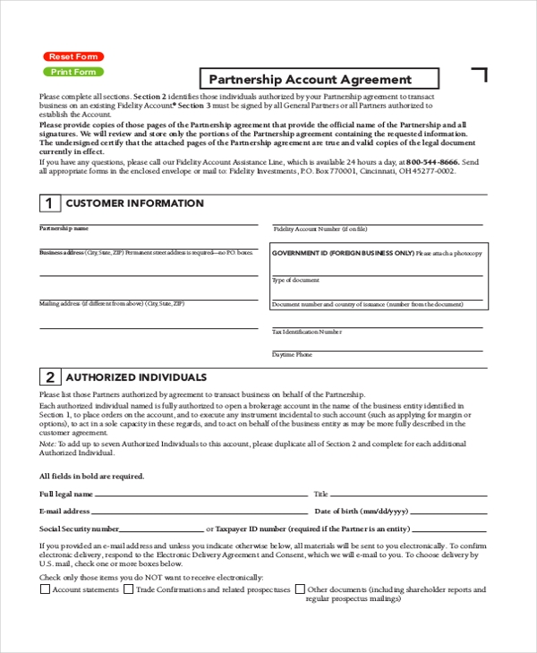 partnership account agreement