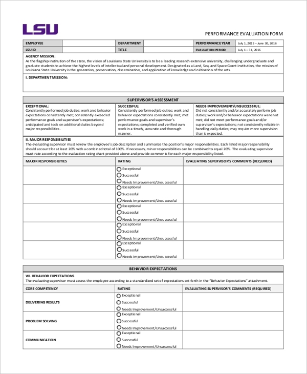 Sample Evaluation Forms   Free Documents In Word Pdf