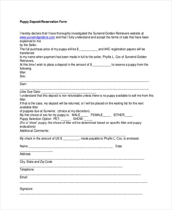 Sample Deposit Forms 16 Free Documents in PDF – Rental Deposit Form