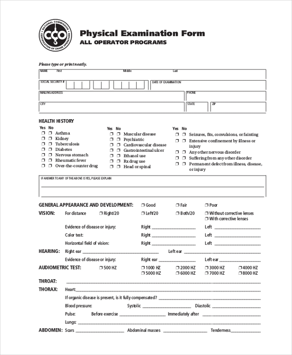 physical examination form