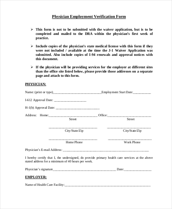 Physician Employment Verification Form