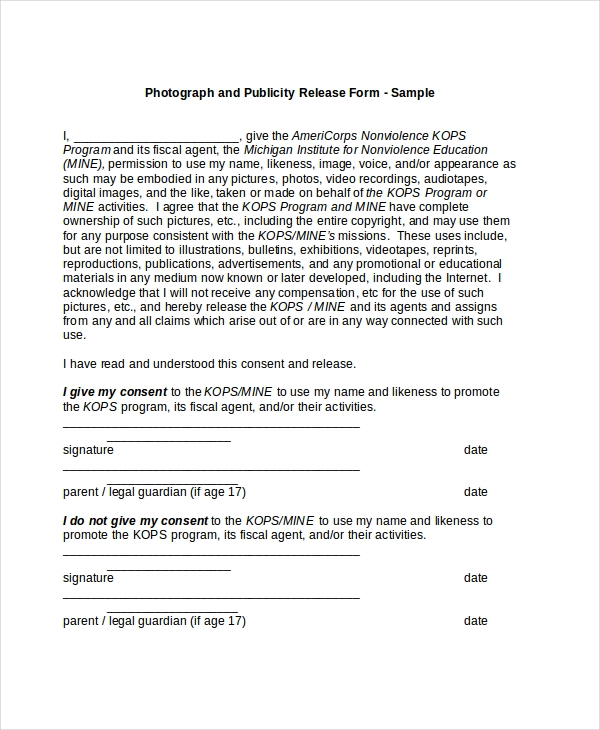 Sample Picture Release Form   Free Documents In Pdf Doc