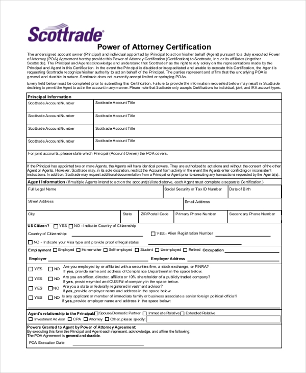 power of attorney certification form