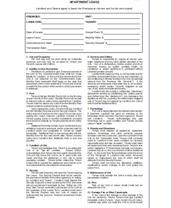 printable apartment lease agreement form