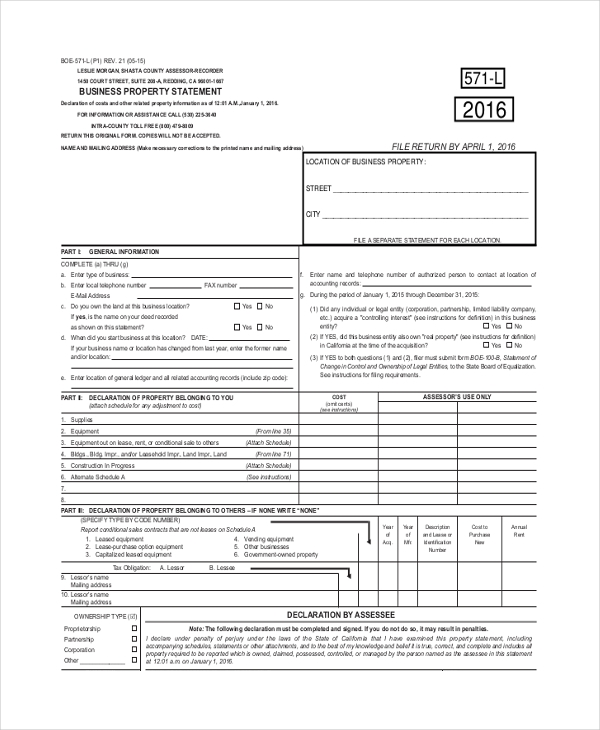 property statement form