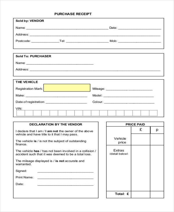 purchase receipt form