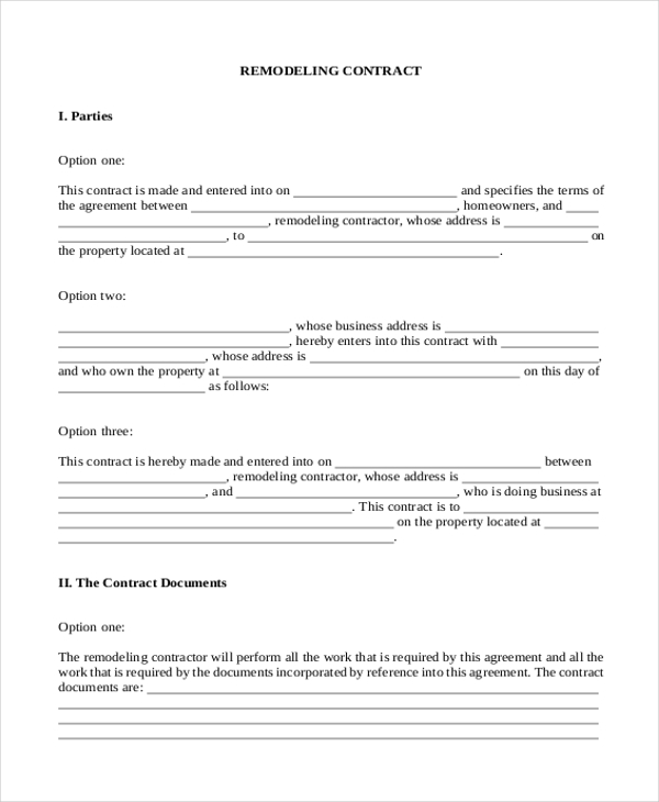 Sample Contractor Contract Form 7 Free Documents in PDF – Remodeling Contract Template Sample