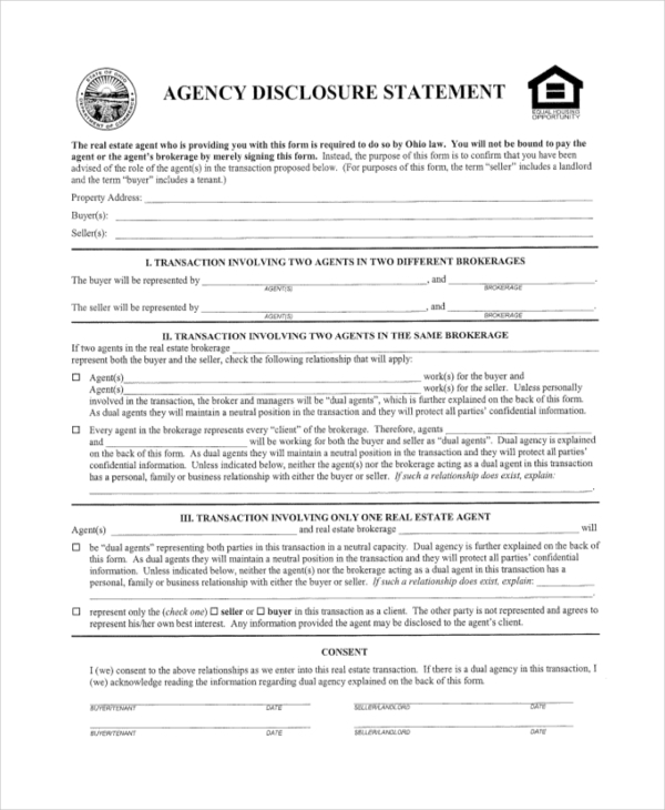 real estate agency disclosure form