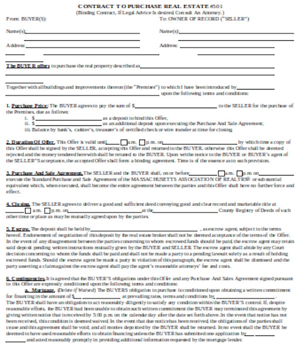 real estate contract offer form