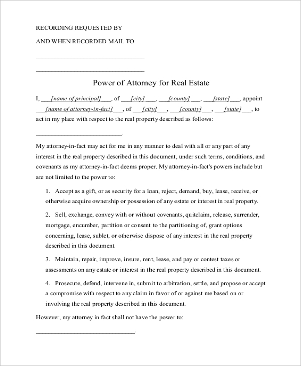 Sample Power Of Attorney Form 20 Free Documents In Word Pdf