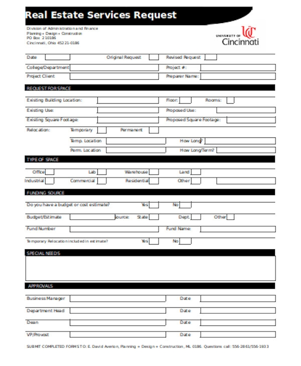 real estate services request form