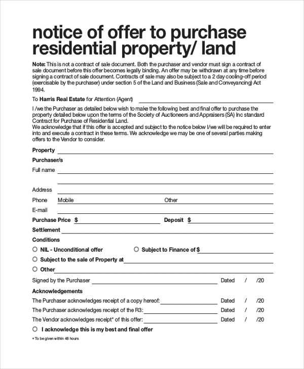 real estate written offer form