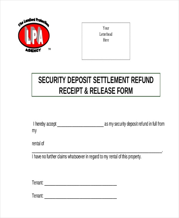 Sample Security Deposit Refund Form 8 Free Documents in PDF – Sample Deposit Receipt