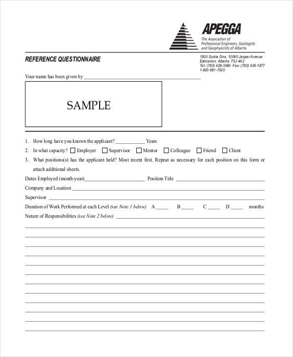 reference questionnaire form