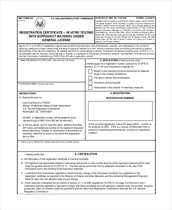 registration certificate form