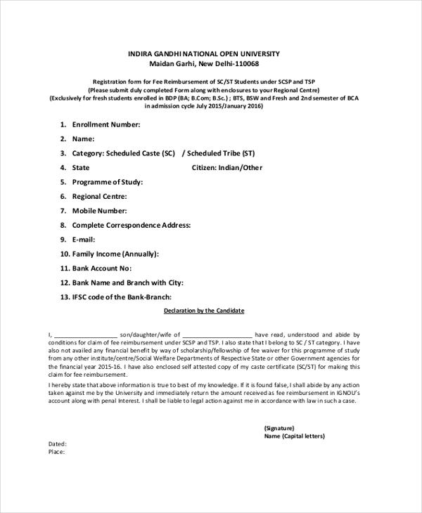 reimbursement declaration form