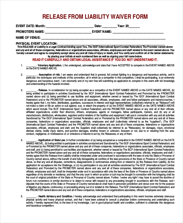 Release Of Liability Waiver Form  Generic Liability Waiver And Release Form