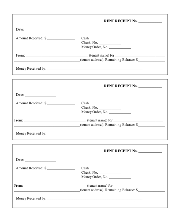 Rent Payment Receipt Form  Payment Receipt Templates