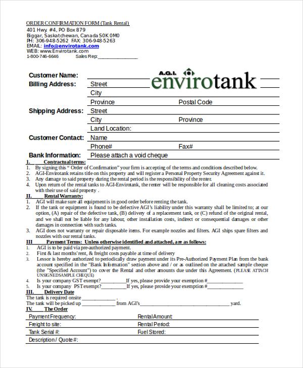 rental order confirmation