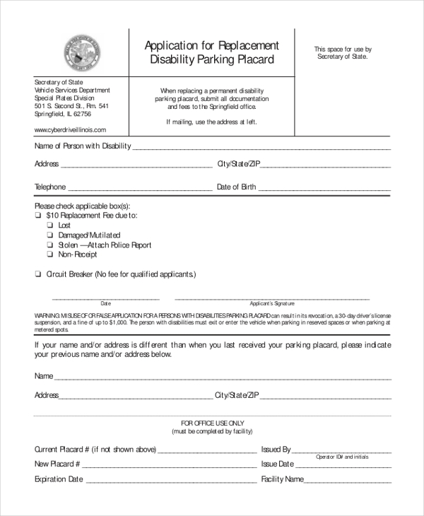 replacement disability parking placard