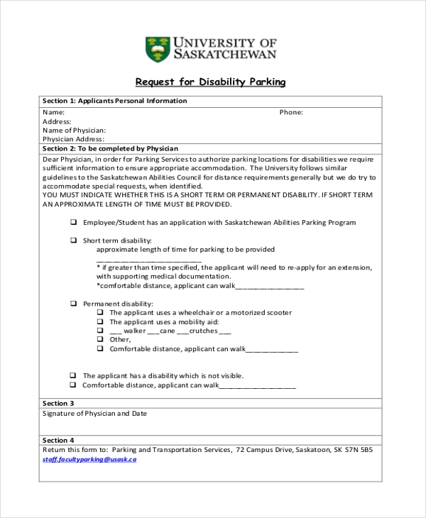 FREE 8 Sample Disability Parking Forms PDF