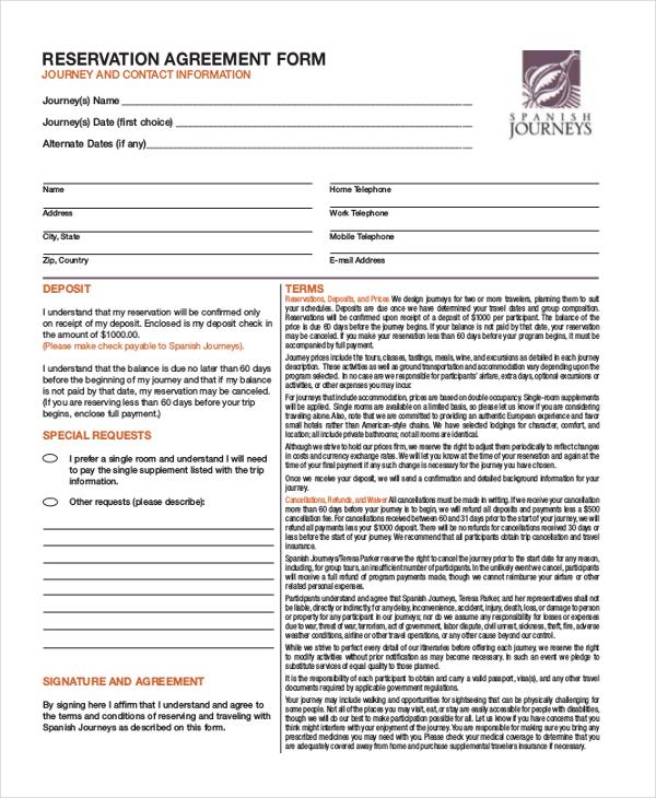 sample reservation form