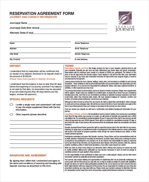 reservation agreement form