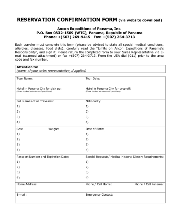 reservation confirmation form