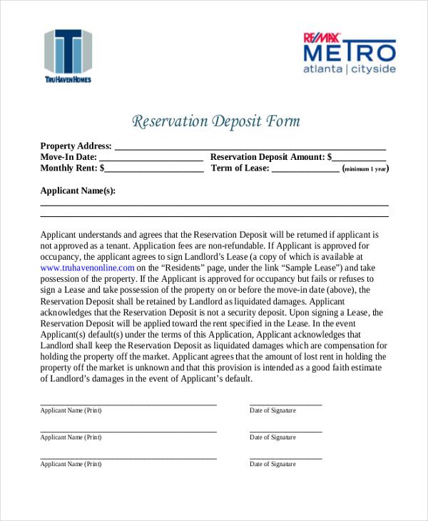reservation deposit form