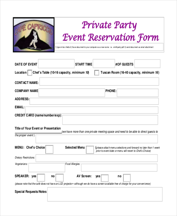 Sample restaurant reservation form 9 free documents in pdf for Event booking form template word